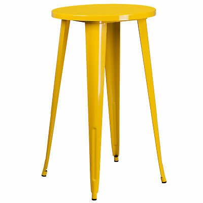 """Commercial Grade 24"""" Round Colorful Metal Indoor-Outdoor Bar Height Dining Table"""