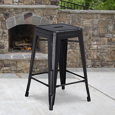 "Commercial Grade 24""H Backless Distressed Metal Indoor-Outdoor Counter Stool"