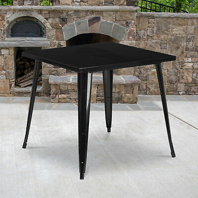 """Commercial Grade 31.75"""" Square Metal Indoor-Outdoor Dining Patio Table"""