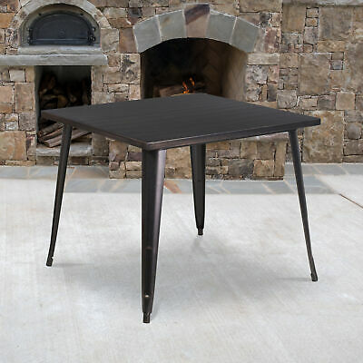 """Commercial Grade 35.5"""" Square Colorful Metal Indoor-Outdoor Dining Table"""