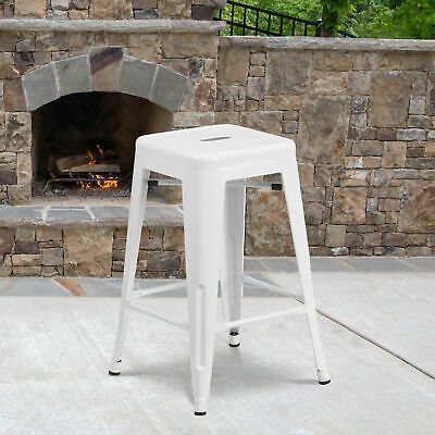 "Commercial Grade 24""H Backless Metal Indoor-Outdoor Counter Stool w/ Square Seat"