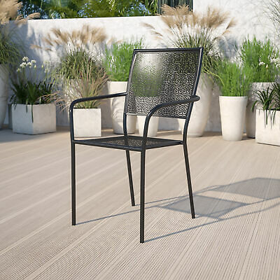 Commercial Grade Colorful Metal Patio Arm Chair with Square Back