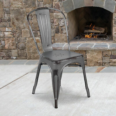 Commercial Grade Distressed Colorful Metal Indoor-Outdoor Stackable Chair