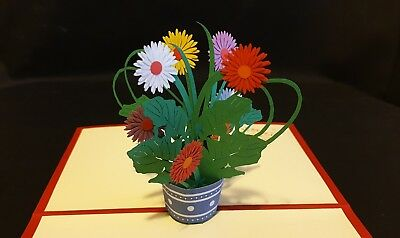 3D Pop Up Colourful Pot of Flowers Card.(Mother's day, Birthday, Valentine's, or