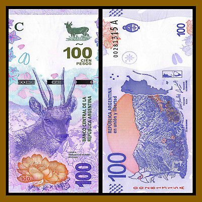 "Argentina 100 Pesos, 2018 P-New Series ""A"" North Andean Dear Unc"