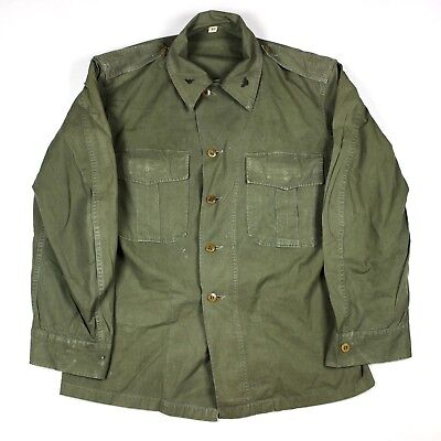 Original Army Us Marine Corps Usmc Field Jacket Od Cotton Theater Made Local 38R