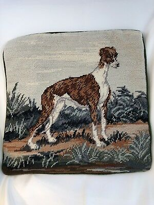 "Whippet in Outdoors Dog Needlepoint Pillow 14"" Square Velveteen Back w/Zipper"