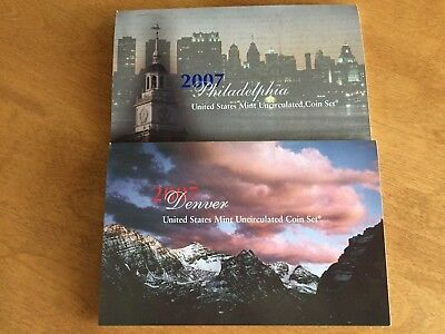 2007 P & D United States Mint Uncirculated Coin Set - 28 Coins With Coa