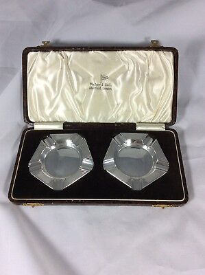 Vintage Hm Silver 'Walker & Hall' Art Deco Ash Trays C1937 Boxed