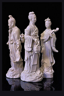 A Group Of 3 Chinese 20th Century Blanc De Chine Porcelain Figures, 26,0 cm H.