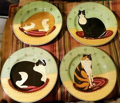 "New Set of 4 Warren Kimble 2000 ""Cat Collection"" Snack Plates UNIQUE CATS!"