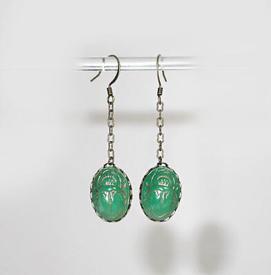 "~VTG 20's ART DECO ""EGYPTIAN REVIVAL"" JADE GLASS SCARAB DANGLE EARRINGS!~~"