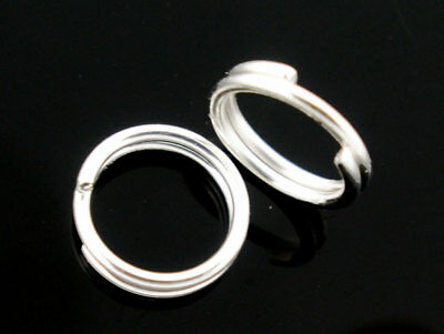 Silver Plated Double Loop Split Rings 5-7-10-12-16mm - Pick A Size (001)