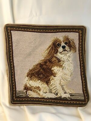 "Cavalier King Charles Spaniel Dog Needlepoint 12"" Square Pillowcase w/Zipper"