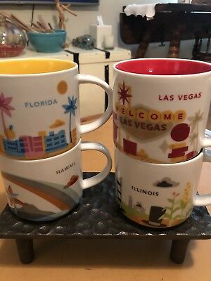 Lot Of 4 Starbucks You Are Here Collection 14Oz Mugs Las Vegas, Hawaii, FL, IL