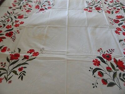 """Vintage 100% Cotton Wilender Red White Floral Tablecloth. 51"""" x 64""""  Spot"""