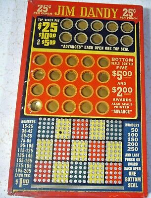 Jim Dandy 25 Cent Three Level Punchboard  One Small Punch Out Of 340.