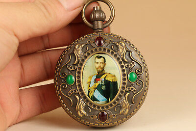 RARE Collectable old copper handmade Pocket watch noble gift pendant