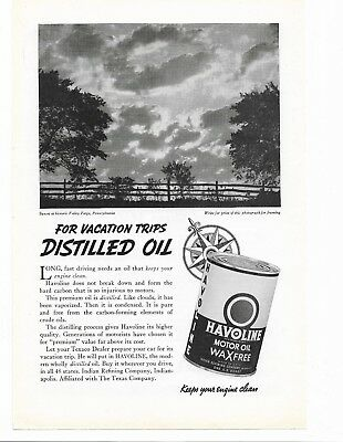 HAVOLINE MOTOR OIL AD - Valley Forge Scene - Texaco Gasoline Petroleum Can