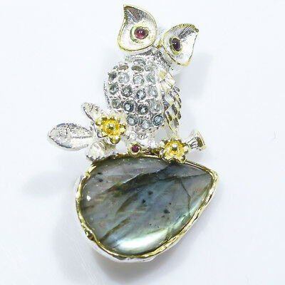 Owl Art Beauty 22ct+ Natural Labradorite 925 Sterling Silver Brooch/NB00245