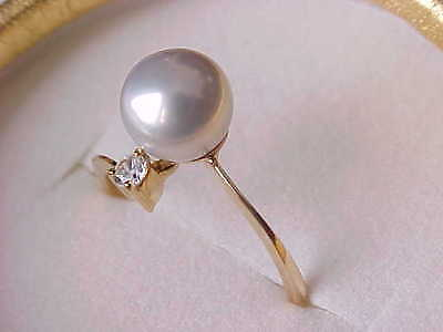 8Mm Aaa Genuine Round Silver Blue Pearl Ring Solid 18Kt Yellow Gold Sz 6.5