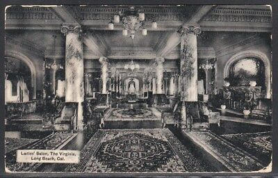 1908: The Virginia Hotel, Long Beach, CA Interior Ladies Salon to Prattsburgh NY