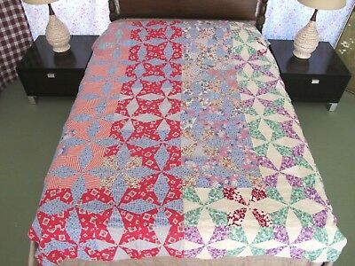 GRAPHIC Vintage Feed Sack Hand Pieced MALTESE CROSS, PERIWINKLE Quilt TOP, Good!