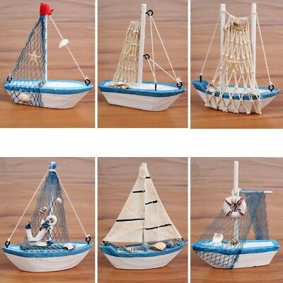 1Pcs European Style Blue Wooden Sailing Model Starfish Home Decor Props