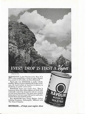 HAVOLINE MOTOR OIL AD - Yellowstone Park Scene - Texaco Gasoline Petroleum Can