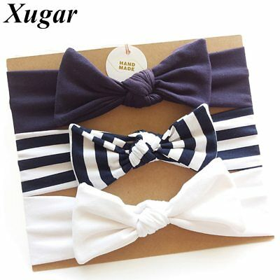 3Pcs/Set Child Striped Cotton Bow Knotted Headbands Stretchy Kids Hair Band