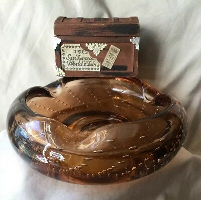 Vintage Hand Blown Bischoff Art Glass Amber Ashtray/Bowl w/Controlled Bubbles 6""