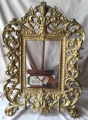 Vintage Antique Metal Rococo French Brass Floral Gilt Frame Griffins Cherub Rose