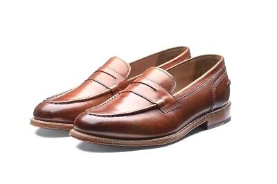 32eb2f02e33 Grenson Maxwell Mens Tan Brown Leather Penny Loafers Size 9  8 UK NEW