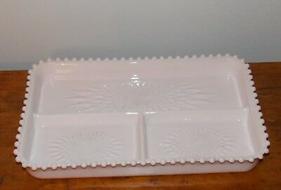 Vintage 1950s Shell Pink Milk Glass Divided Hostess Relish Tray Jeanette Beaded