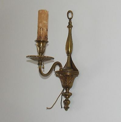 Antique Medieval Gothic Vintage Bronze Brass Electric Candle Light Sconce Deco