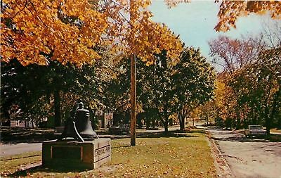 Salem Ohio~Centennial Park~City Hall Bell~Autumn~1960s Postcard
