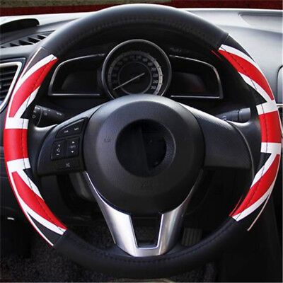 Universal Carbon Fiber Leather Steering Wheel Cover Auto Car Truck L