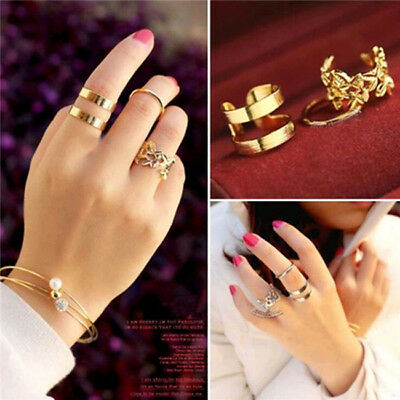 Ladies Mid Mini Joint Finger Silver Gold Crystal 3 Pieces  Ring Set Jewelry L