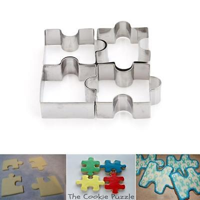 4Pcs Puzzle Mold Cookie Cutter Mold Stainless Steel Jigsaw Pieces Baking Tool L