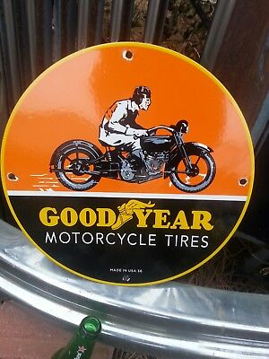 Vintage 1936 Goodyear Motorcycle Tires Porcelain Sign Rack Plate