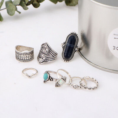 8 Piece Turquoise Ring Set Alloy Ring Wedding Engagement Jewelry L