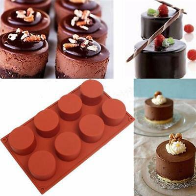 Bakeware Pans 8 Cavity Round Cylinder Silicone Soap Muffin Cupcake Icing Mold L