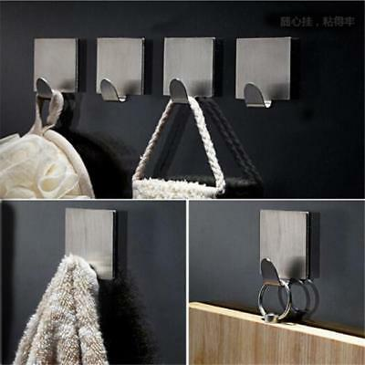 4 Stainless Steel Self Adhesive Stick Sticky On Door Wall Hanger Holder Hook L