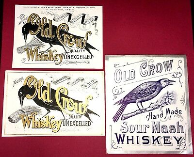 Antique 3 OLD CROW WHISKEY LABELS Sample GUNTHER-MULLER Co Embossed Advertising
