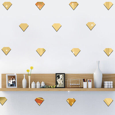 12pcs Diamond Mirror Self-Adhesive Wall Stickers Diamond Decals for Decoration