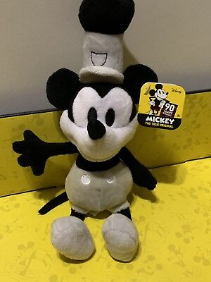 """Disney Mickey Mouse Beans Steamboat Willie 7"""" Plush Toy 90 Years Of Magic"""