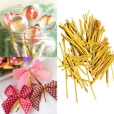 Metallic Twist Ties Wire for Cello Bags Cake Pops 10cm Packaging Wrap L