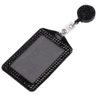 1pieces Rhinestone Lanyard with Retractable Reel Vertical ID Badge Holder L