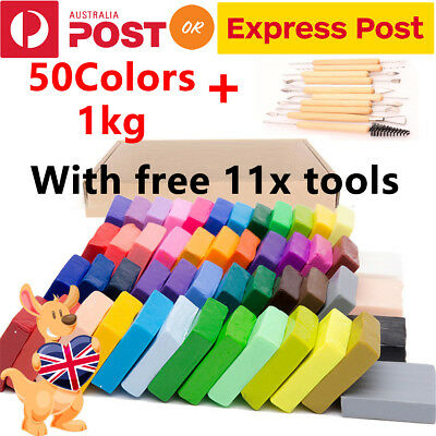 50PCS DIY Craft Malleable Fimo Polymer Modelling Soft Clay Block Set W/ Tools AU