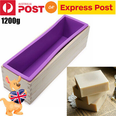 1.2kg Wood Loaf Soap Mould Melt with Silicone Mold Cake Making Wooden Box DIY AU